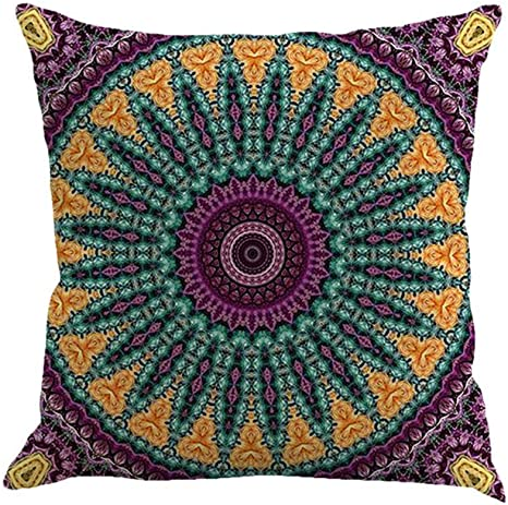 Amazon Com Spxubz Mandala Element Bohemian Purple Turquoise And Yellow Flax Throw Pillow Cover Home Decor Nice Gift Square Indoor Linen Pillowcase Standar Size 26x26 In Two Sides Kitchen
