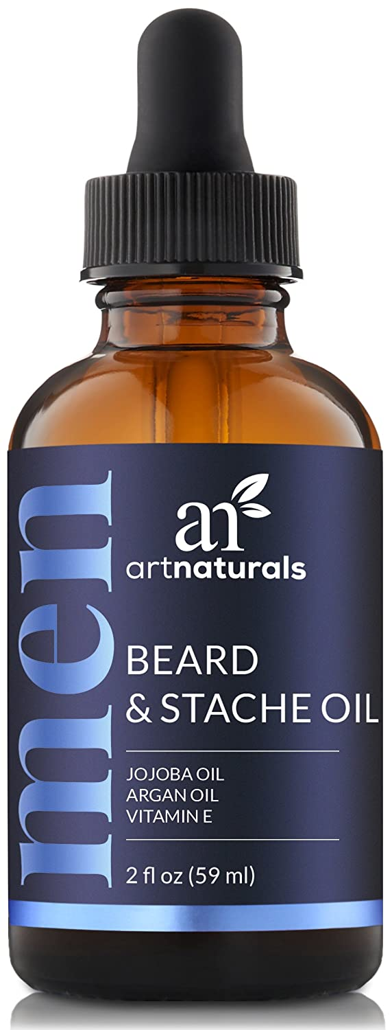 ArtNaturals Organic Beard Oil and Conditioner - (2 Fl Oz / 60ml) - 100% Pure Unscented - Beard and Mustache Growth - Softens Your Beard, Stops Itching and Treats Acne - Argan and Jojoba Oil ANVA-0201-VE