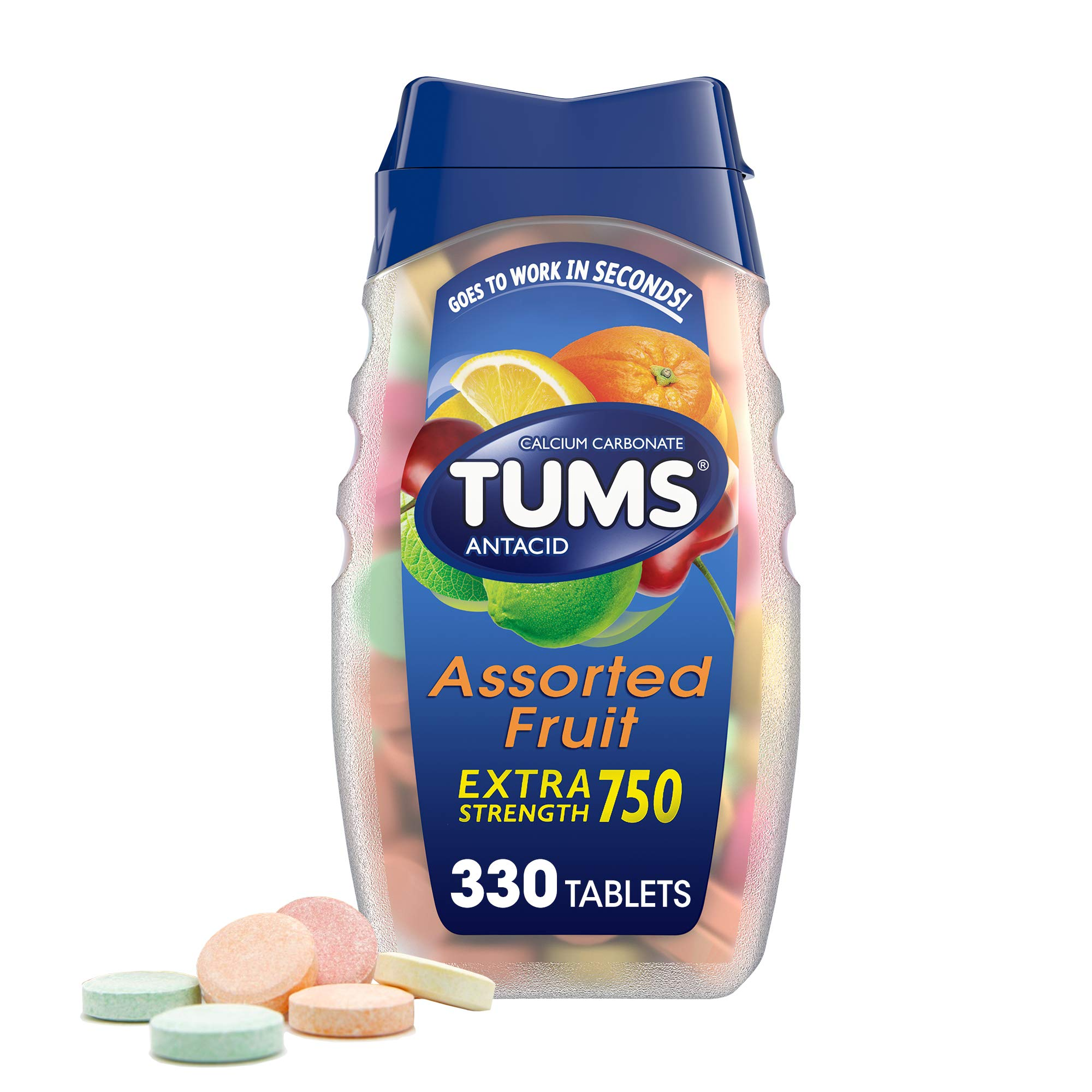 TUMS Extra Strength Antacid Tablets for Chewable Heartburn Relief and Acid Indigestion Relief, Assorted Fruit Flavors - 330 Count