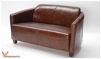 Phoenixarts Echtleder Vintage 2 Sitzer Sofa Braun Design Retro