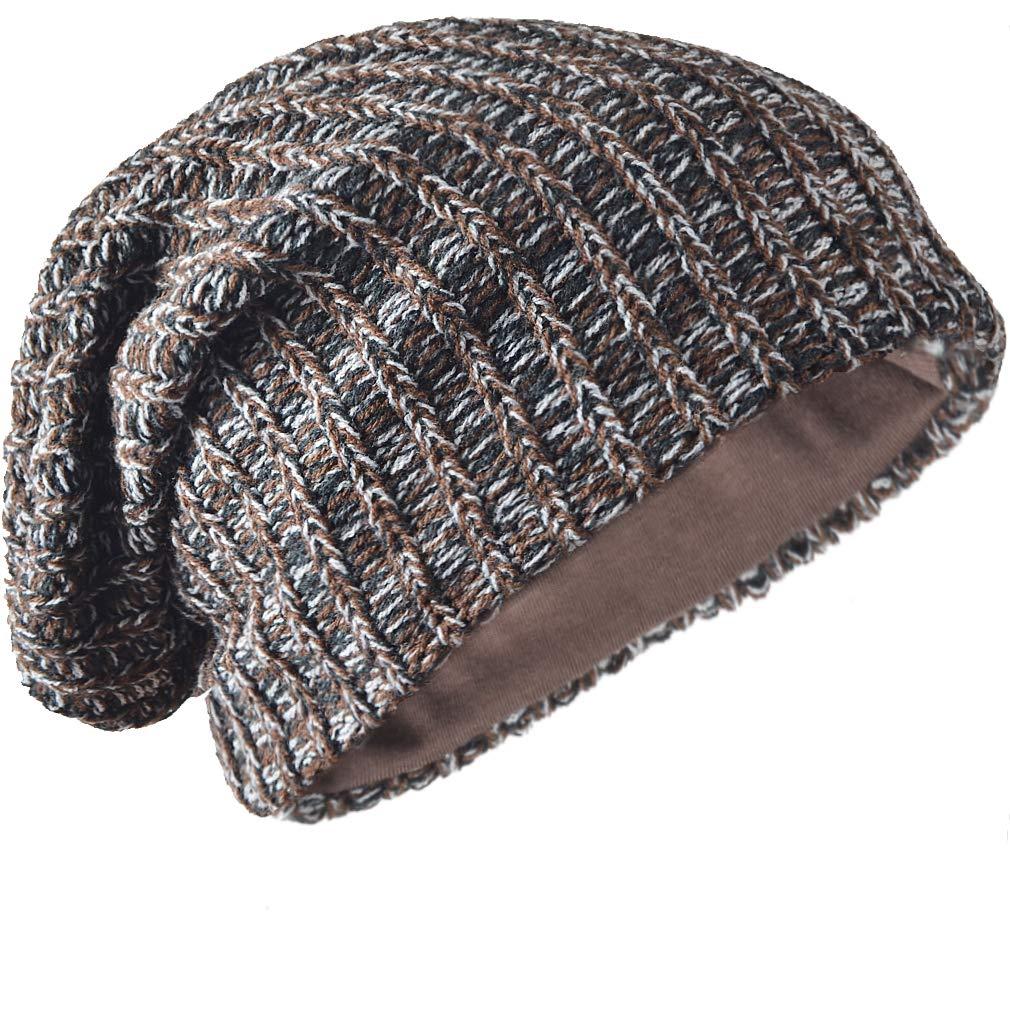 d25706de2 FORBUSITE Mens Slouchy Long Beanie Knit Cap for Summer Winter, Oversized,  Brown