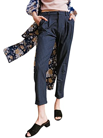 f96caf7c8c5283 Terryfy Damen 7/8 Hose Elegant Gestreift Business High Waist mit  Reissverschluss Taschen Pants Blau: Amazon.co.uk: Clothing