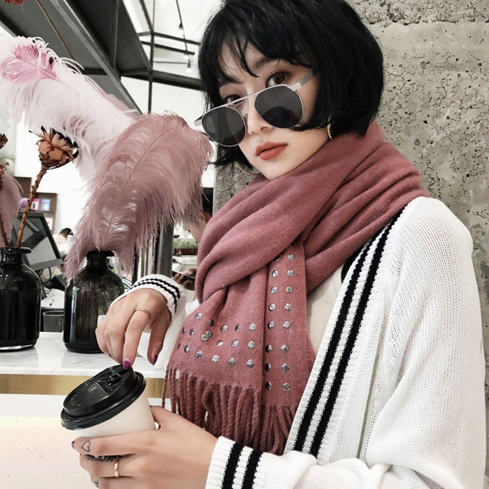 MEIDUO Bufandas y Chales Bufanda de otoño e invierno bufandas borlas de punto de mujer gruesa cálida estudiantes de cuello ( Color : E )