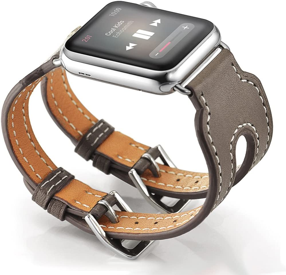 Valkit Compatible with Apple Watch Bands 38mm 40mm 42mm 44mm, Genuine Leather Strap iWatch Wristband with Stainless Steel Adapter for iWatch SE & Series 6 5 4 3 2 1, Double Buckle Cuff - Brownness