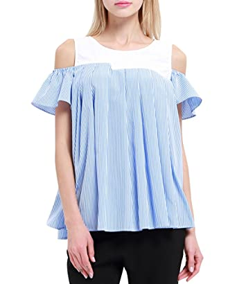 5c42bc50a9b88 K Women s Vertical Striped Shirt Pleated Short Sleeve Cold Shoulder Tops