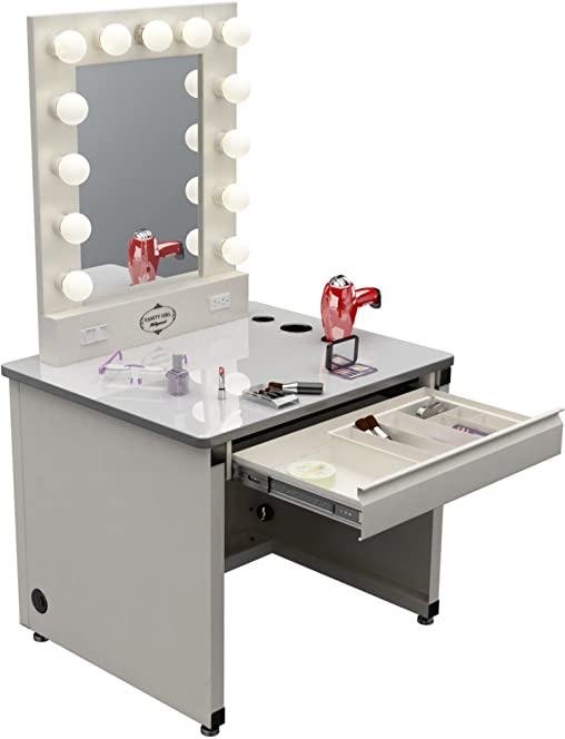 Broadway lighted vanity desk 36 x 30 gloss white amazon broadway lighted vanity desk 36 x 30quot mozeypictures Choice Image