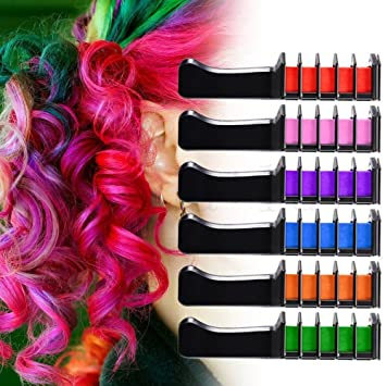 Amazon Com Ivyrise 6 Colors Rainbow Hair Chalk Comb