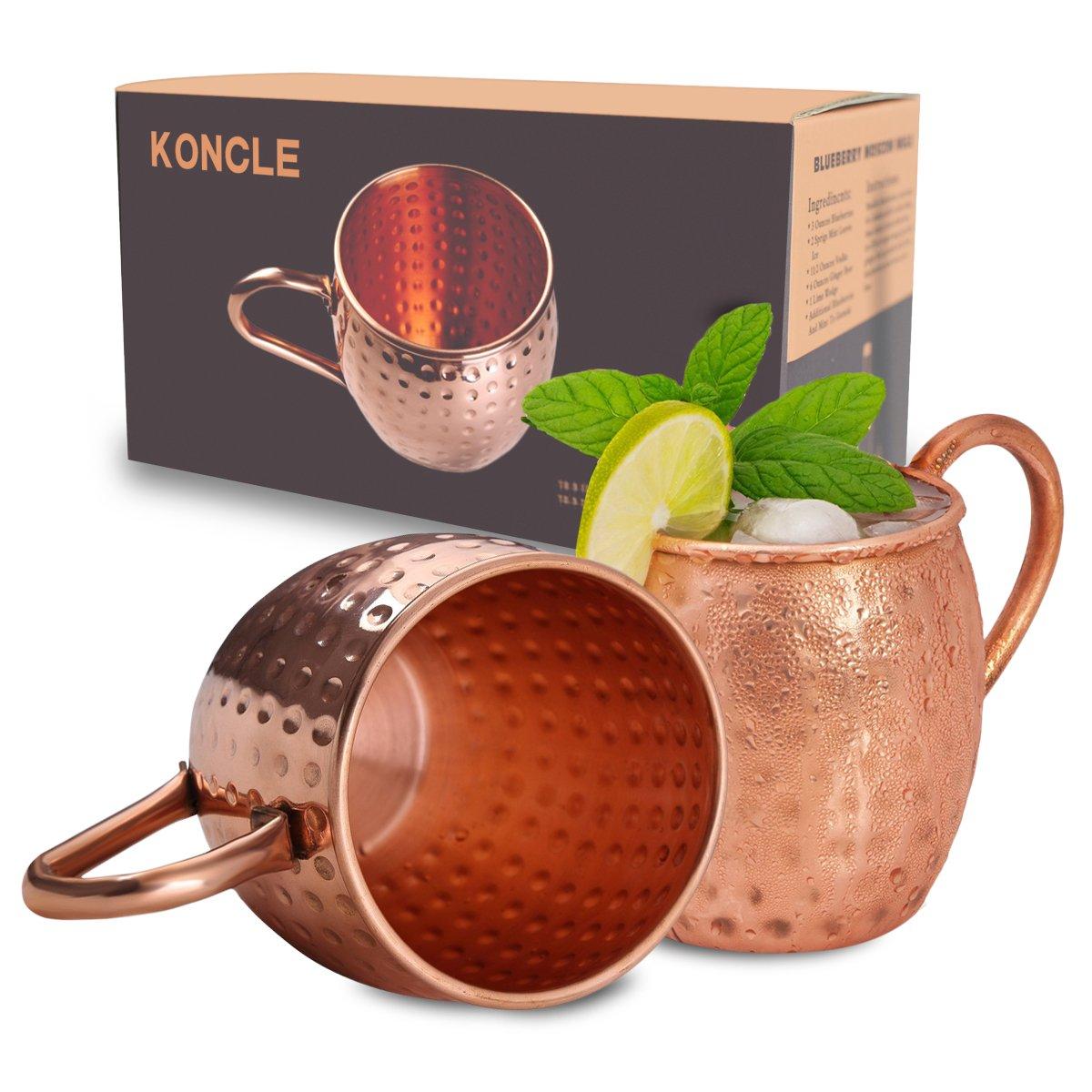 Koncle手作り銅モスコミュールマグカップ&打ち出し銅マグカップ。100 %純粋な銅ミュールマグ、マグギフトセット、2のセットマグカップ( 18.5 Oz )   B06Y5JX14T