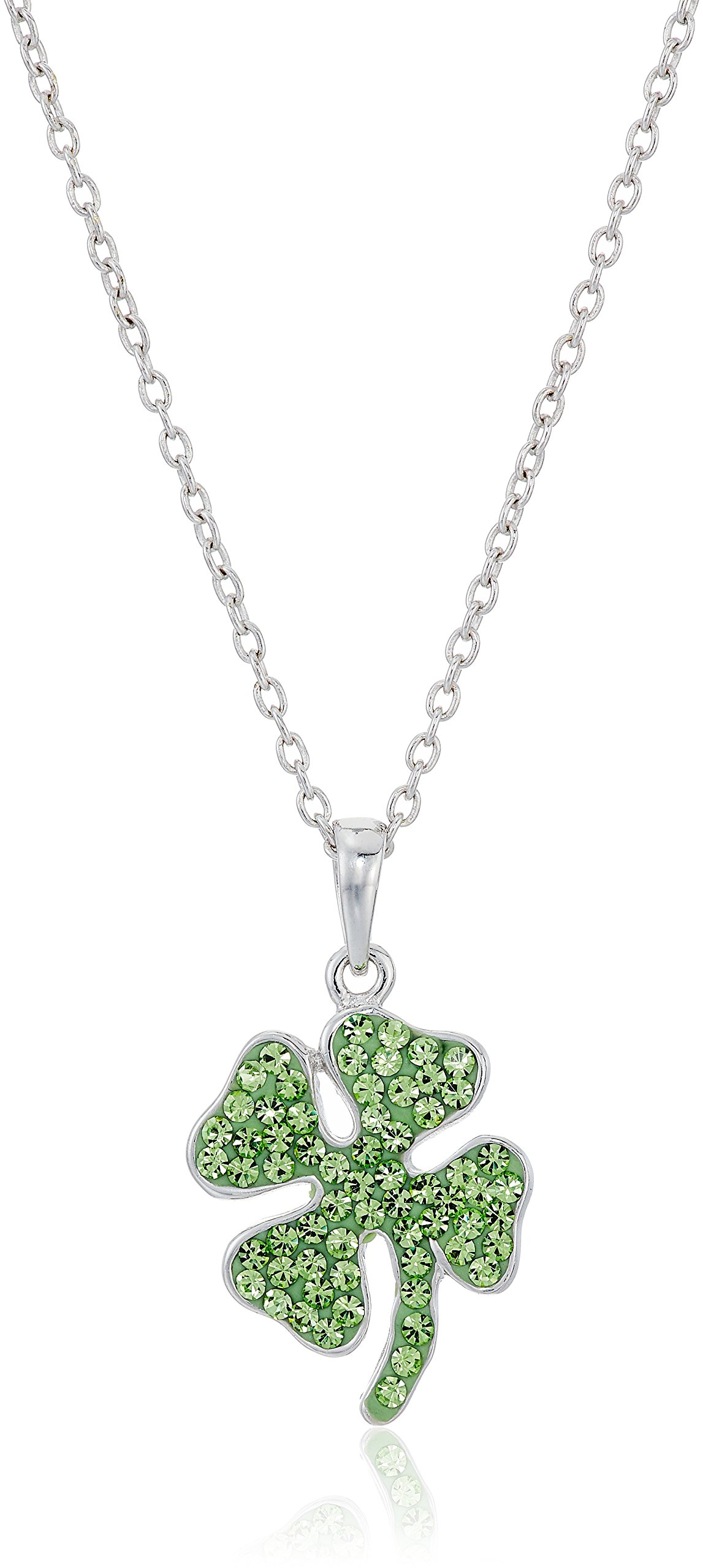 Silver Plated Crystal Four Leaf Clover Pendant Enhancer, 18''