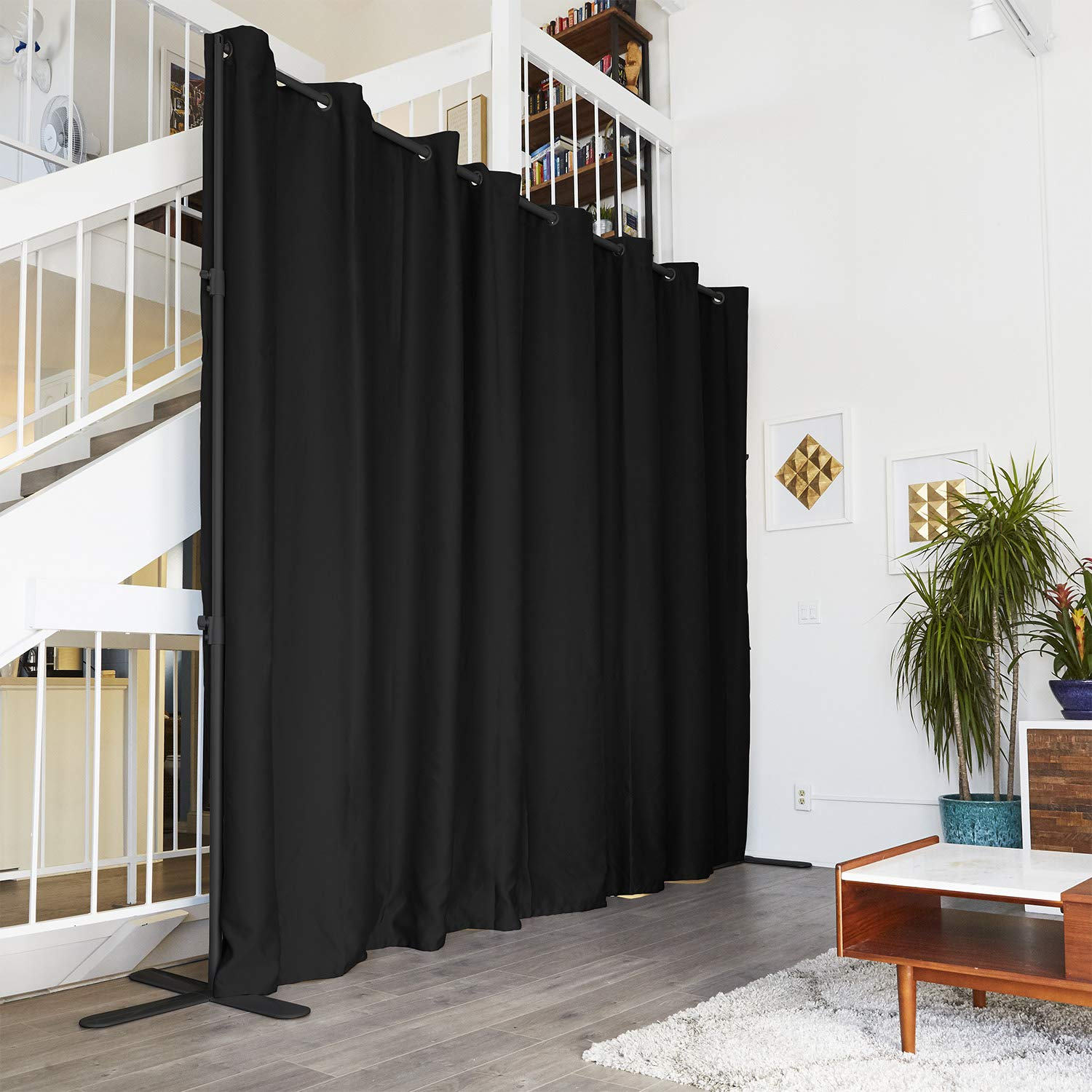 RoomDividersNow End2End Room Divider Kit - X-Large A, 8ft Tall x 14ft - 18ft Wide, Midnight Black by RoomDividersNow