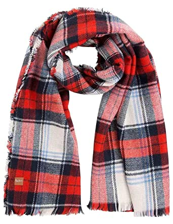 799665e288d Pepe Jeans Scarf Letha Checked for Women U Rouge  Amazon.fr ...