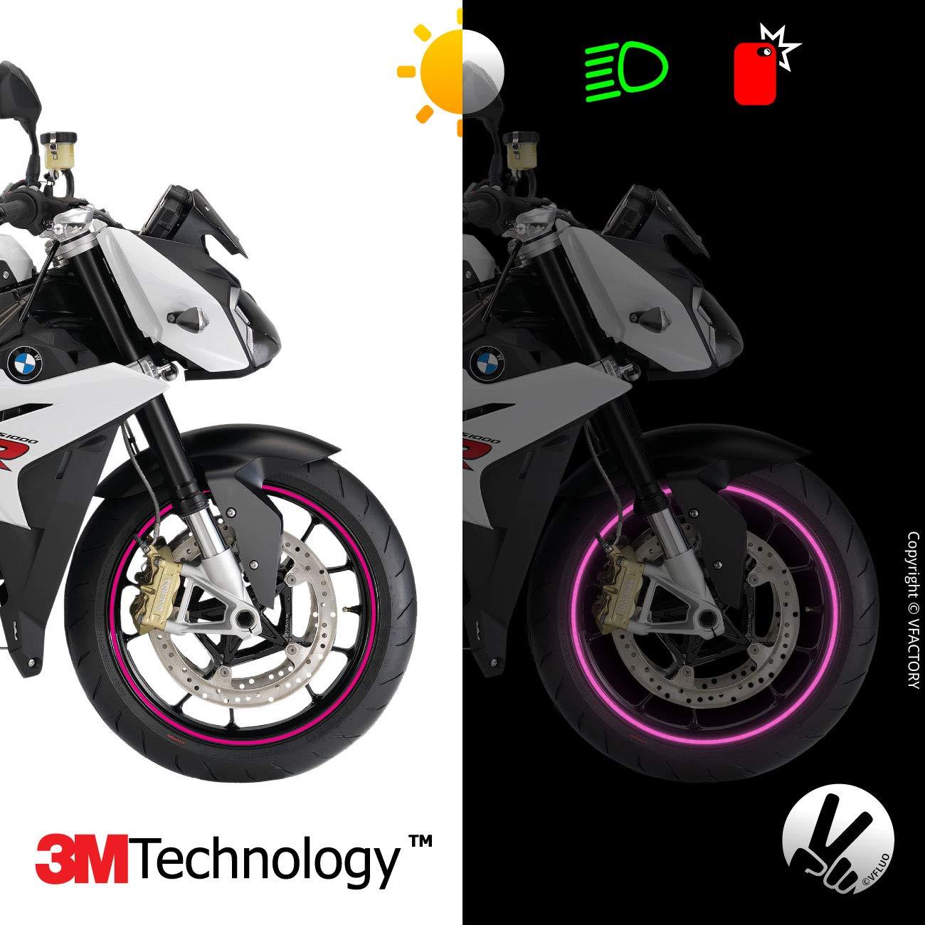 VFLUO Circular™, Kit Bandes Jantes Moto rétro réfléchissantes (1 Roue), 3M Technology™, Liseret Largeur Normale : 7 mm, Or