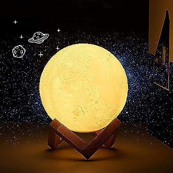 15 cm LED Luna Lámpara 3d luz nocturna con el mando Noche Lámpara ...