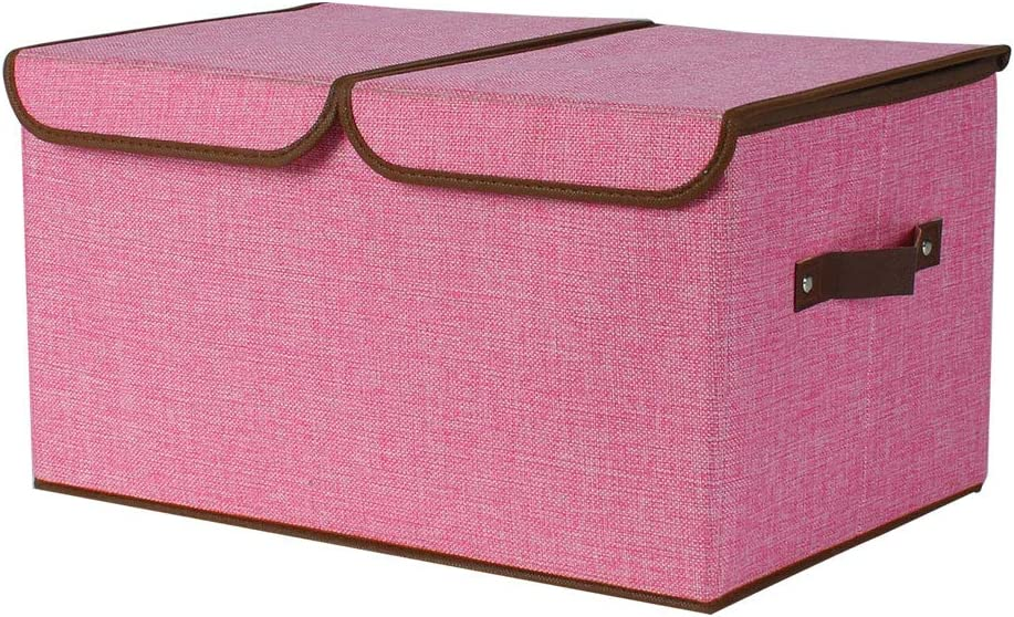 uxcell Larger Storage Cubes Linen Fabric Foldable Storage Cube Bin Organizer Basket with Lid, Handles, Removable Divider for Home Office Closet Laundry Room, Pink