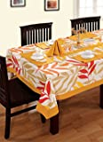 Swayam Libra Printed Cotton Six Seater Table Sheet - Yellow (RDS16-60x90-5904)