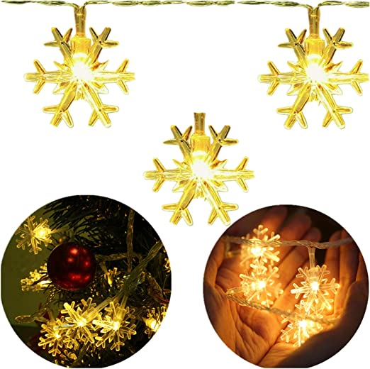 Infilila Snowflake Led String Lights 33ft 100 Leds Plug In Indoor Outdoor Christmas Lights With 8 Changing Model Waterproof Decorative Lights For