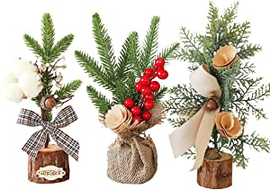 SUNREEK 3 Pieces Mini Artificial Christmas Tree with Ornaments, Small 10inch/25cm Tall Christmas Pine Tree for Christmas Decoration, Table and Desk Tops