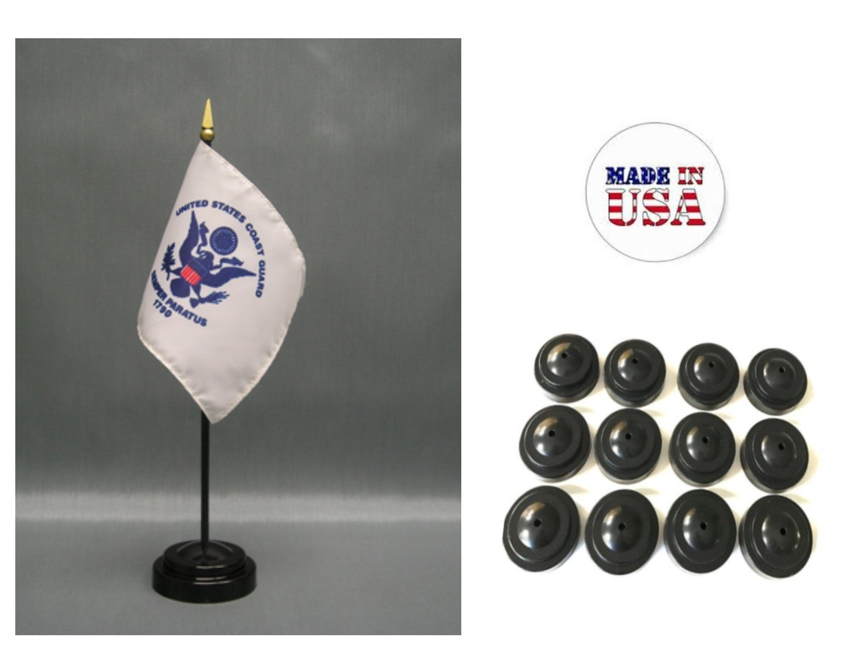 MADE IN USA!! Box of 12 United States Coast Guard 4''x6'' Miniature Desk & Table Flags Includes 12 Flag Stands & 12 American Made Small Mini Coast Guard Stick Flags