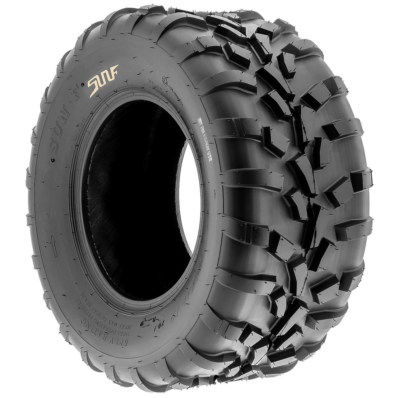 Pair of 2 SunF 25x11-12 AT-XC ATV/UTV Off-Road Tires , 6PR , Directional Knobby Tread | A010 by SunF (Image #5)