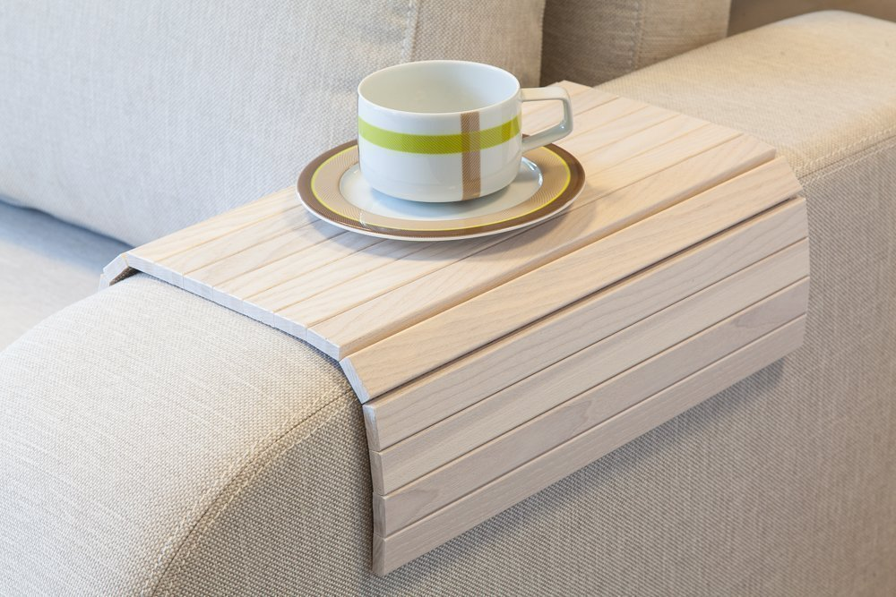 White Sofa Side Tray Table - Wood Armrest Tray – Sofa Tray Table - Surface For Coffee/Meals/Laptop - 22.5