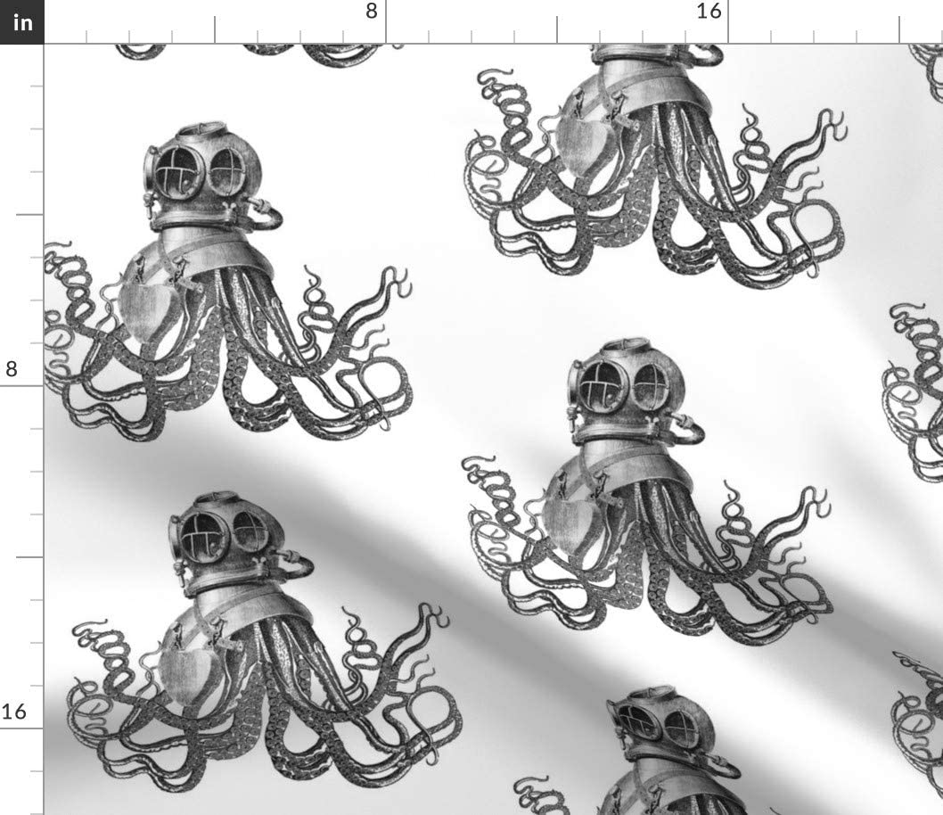 Spoonflower Fabric - Deep Sea Nautical Vintage Octopus Steampunk Ocean Summer Nursery Printed on Petal Signature Cotton Fabric by The Yard - Sewing Quilting Apparel Crafts Decor