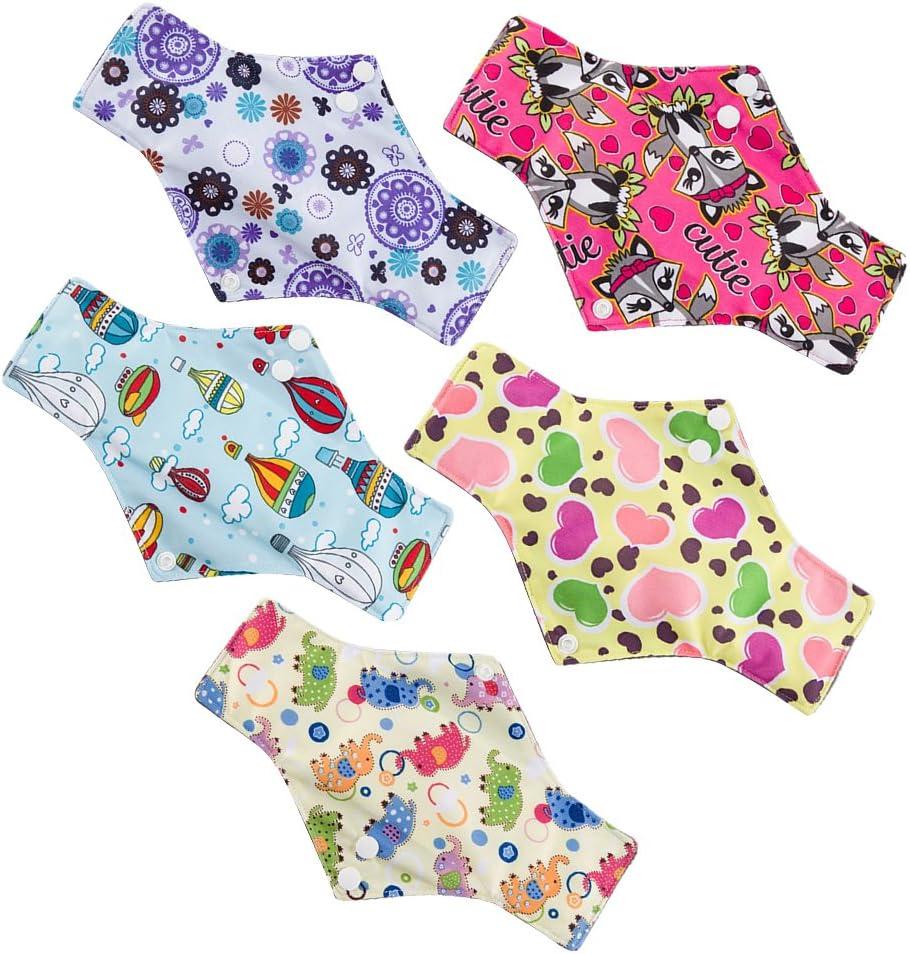 Compresas reutilizables, lote de 5, higiénicas, lavables, portátiles y plegables, de tela de carbón de bambú, para menstruaciones, 18 x 18 cm (color ...