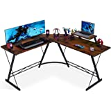 Coleshome L Shaped Desk Home Office Desk with Shelf, Gaming Computer Desk with Monitor Stand, PC Table Workstation with Shelf