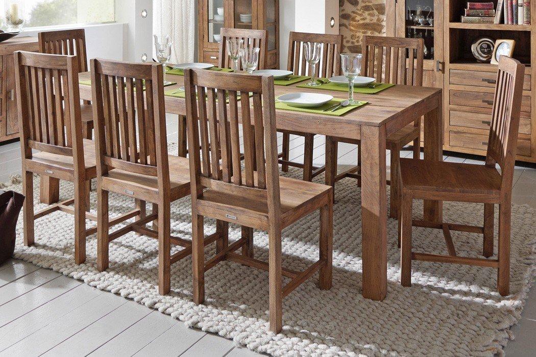 Tischgruppe Bihar Akazie Massiv Stone Esszimmertisch 8x Holzstuhl Esszimmer  Wohnzimmer Küche Jetzt Kaufen