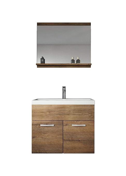 Badezimmer Badmöbel Montreal 02 Lefkas 60cm Waschbecken - Unterschrank  Waschtisch Spiegel Möbel