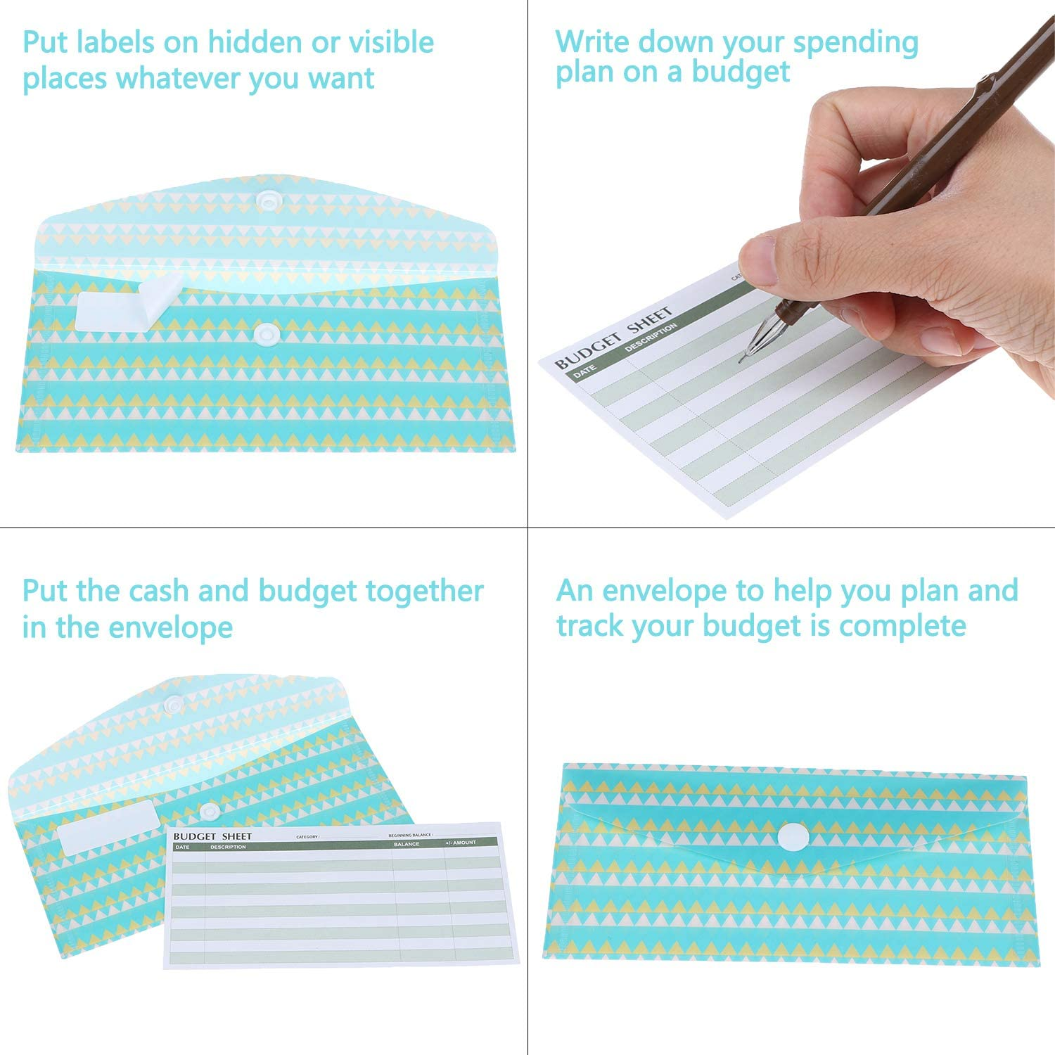 Yoption Cash Envelope System 15 Pack Waterproof Reusable Plastic Budget Envelopes 15 Pcs Expense Tracking Budget Sheets and 24 Bill Planner Stickers