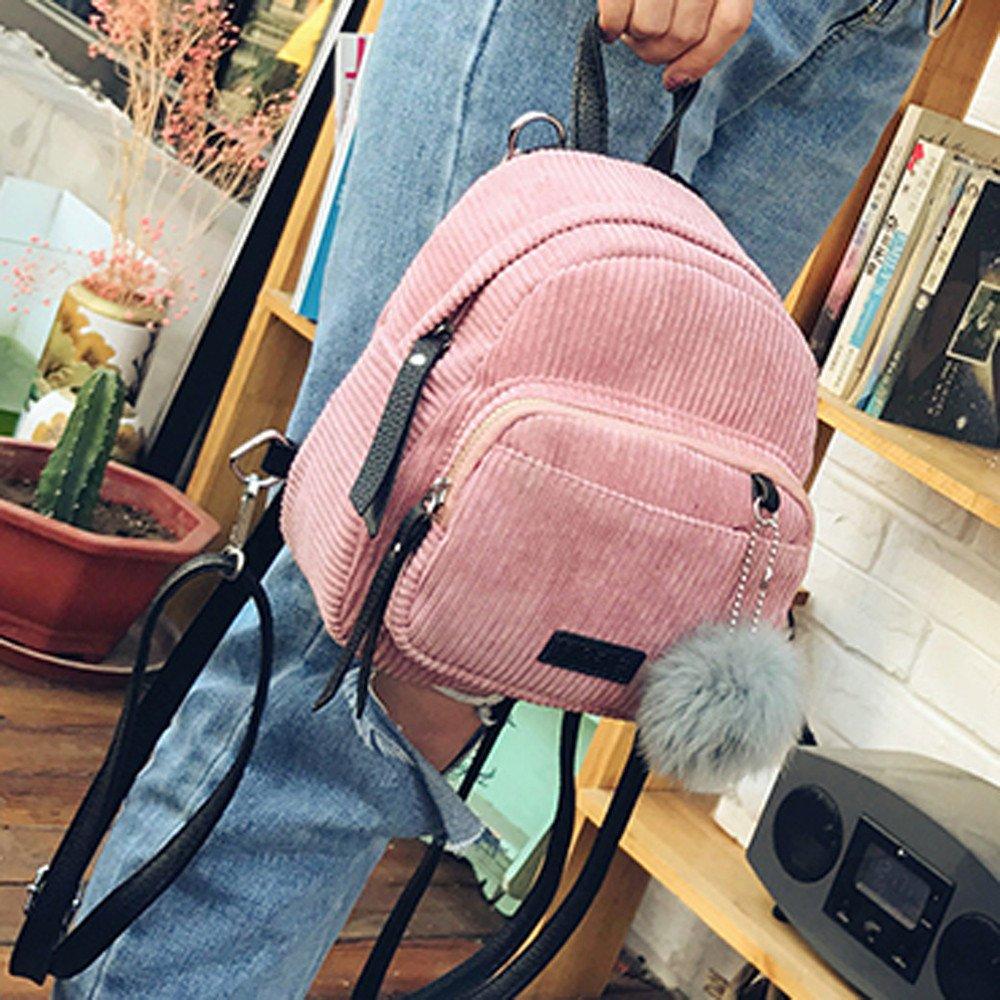 Shoulder Bags, Backpacks for Woman Girl Vintage Corduroy Travel School Bag Cute Striped Pompon Backpack (Pink) by Euone_Bag (Image #4)