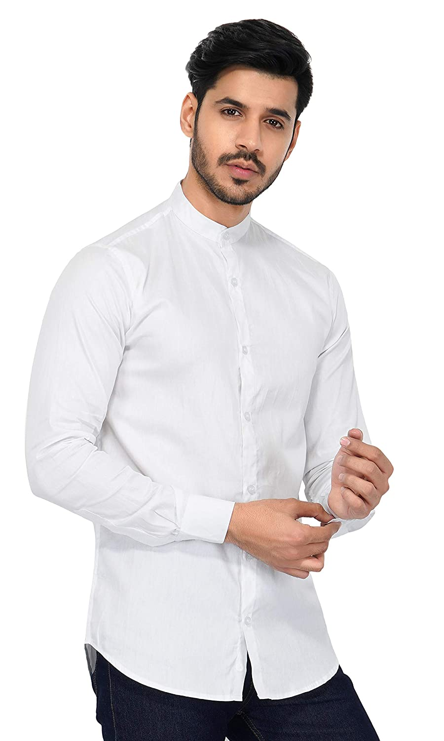 0ac669f38 U-TURN Men's Cotton Solid Chinese Collar Shirt: Amazon.in: Clothing &  Accessories