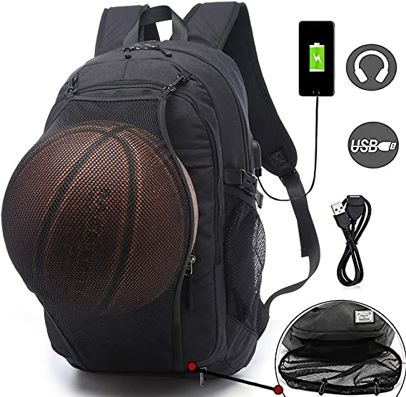 Sports Basketball Backpacks Bags for Laptop, Soccer with Ball Compartment