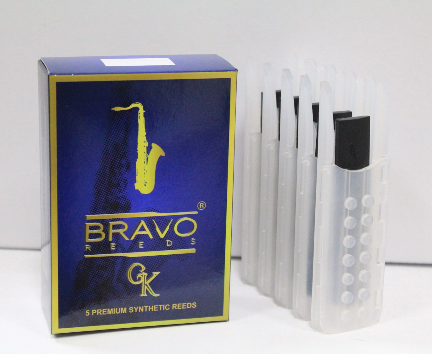 Bravo Gk Premium Synthetic Reeds for Tenor Sax: Strength 3.0. Box of 5, $35, Designed in California