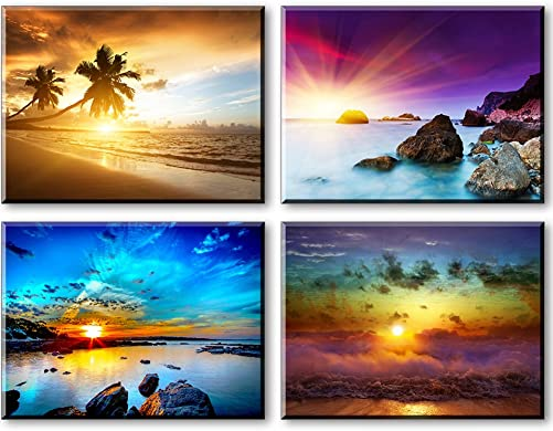 Beach Theme Decor for Bedroom, PIY HD Beautiful Sunset Sea Wall Art, Colorful Canvas Prints Home Decorations 4 Piece 1 Thick Frame, Waterproof Artwork, Bracket Mounted Ready to Hang