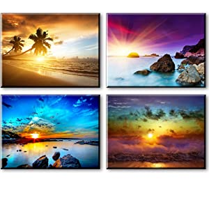 """Beach Theme Decor for Bedroom, PIY HD Beautiful Sunset Sea Wall Art, Colorful Canvas Prints Home Decorations (4 Piece 1"""" Thick Frame, Waterproof Artwork, Bracket Mounted Ready to Hang)"""