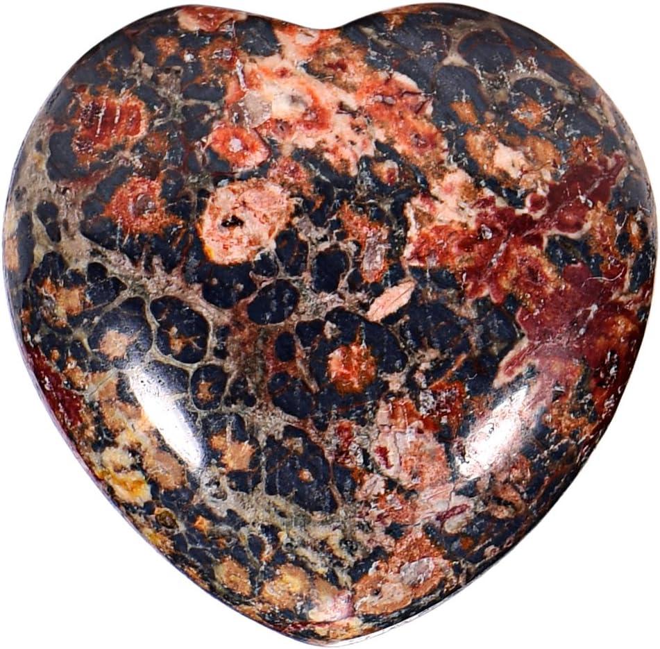 Morella piedras preciosas gema Diaspro leopardo forma de corazón Ángel de la Guarda protector de 3 cm en una bolsa de terciopelo