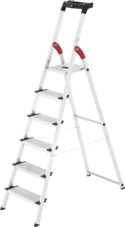 Hailo XXL Escalera taburete Aluminio, Negro, Rojo - Escalera de ...