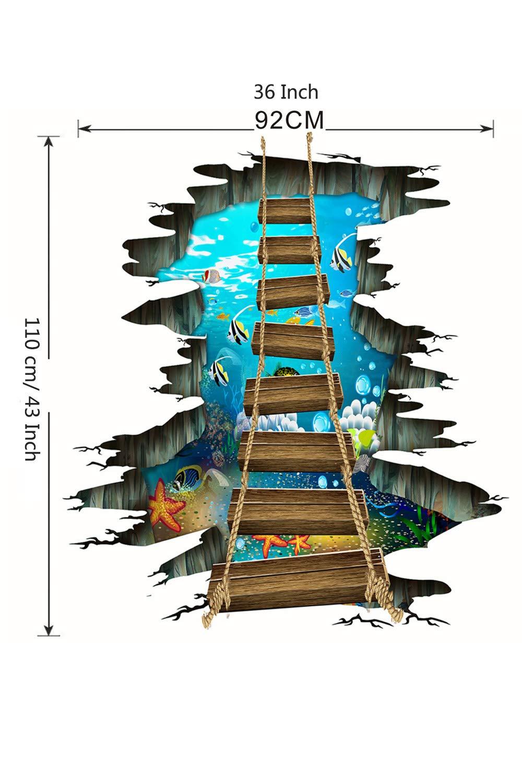 SMTD 3D Cr/éatif Stickers Muraux de Pont de Corde de PVC Peut /Étre Enlev/é en Trois Dimensions Stickers Mural Pont Suspendu Stickers Muraux