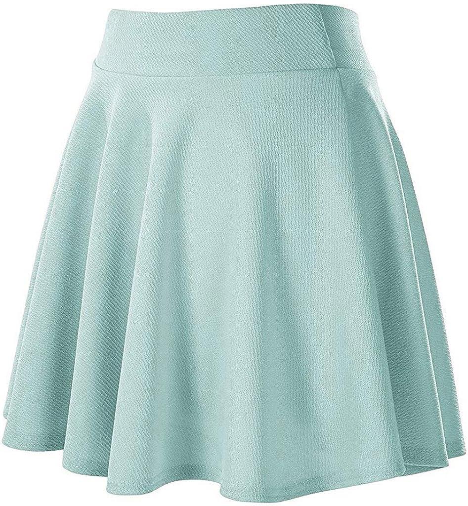 baskuwish Womens Basic Versatile Stretchy Flared Casual Mini Skater Skirt