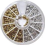 EFT 500pcs Mixed Sizes Silver& Gold Punk Half Round Acrylic Rhinestones Flatback Pearls Beads Nail Art Decoration W/wheel