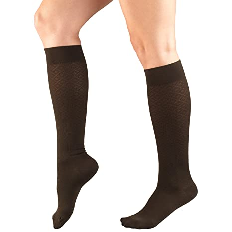 Amazon.com: Truform Womens 15-20 mmHg Compression Dress Socks with Diamond Pattern, Brown, X-Large: Health & Personal Care