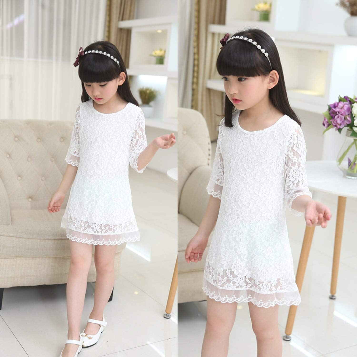 Kids 2018 Summer Autumn Lace Dress White Large Size Girls Dress Princess 3 4 6 8 10 12 14 16 18 Years Old Baby Girl,White,7 by Gooding Day (Image #2)