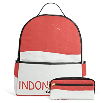 Amazon.com  Distressed Indonesia Flag Unisex Canvas School College Student Backpack  Laptop Bags Rucksack Casual Daypack with Pencil Case  fashion styles bbe3443616c1