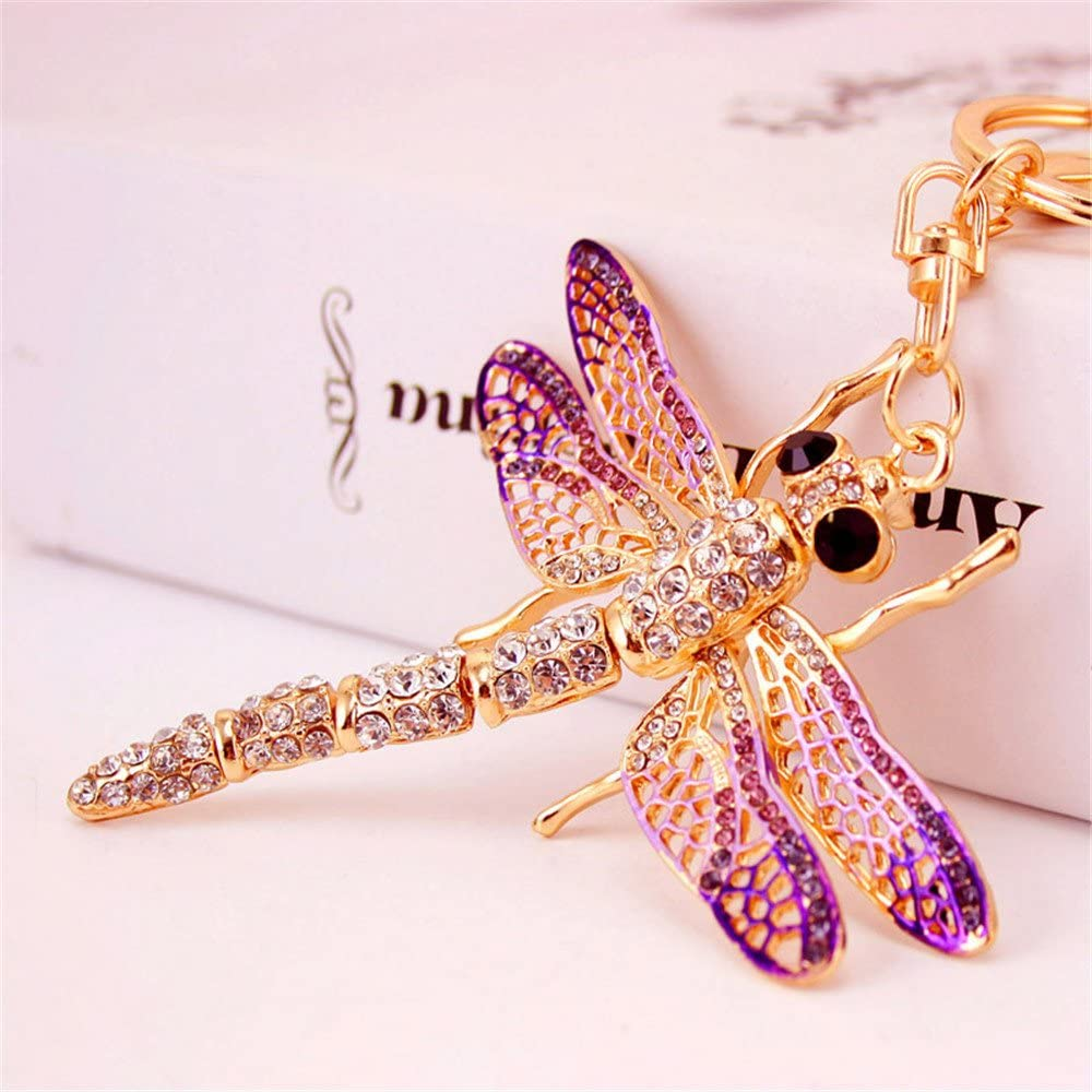 Dragonfly Keychain Charm Pendant Handbag Bag Keychain Key Ring (Purple)