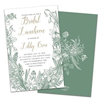 Amazon Com Vintage Florals Personalized Bridal Luncheon Invitations