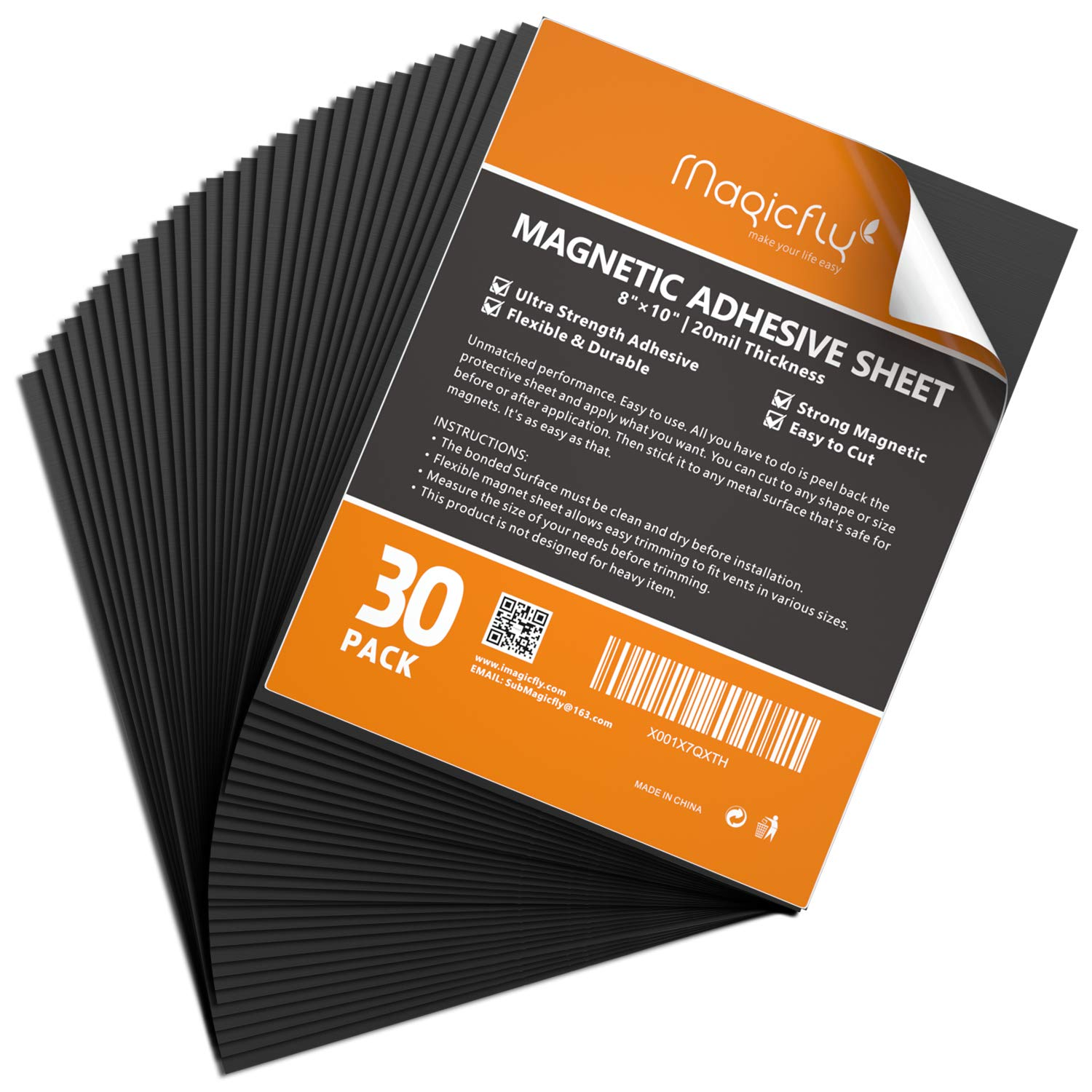 Magnetic Adhesive Sheet 8 X 10 Inch, Magicfly Pack of 30 Flexible Magnet Sheets with Adhesive, Easy Peel and Stick Self Adhesive for Photos Crafts by Magicfly (Image #1)