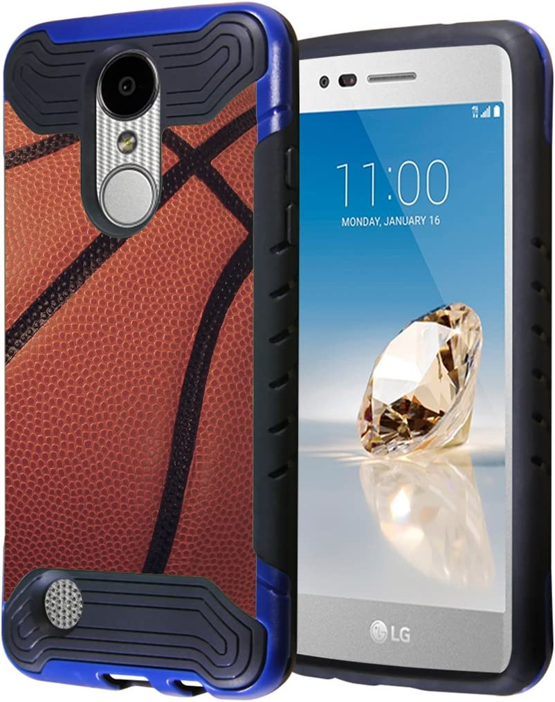 LG Aristo Case, LG Fortune Case, LG Phoenix 3 Case, Capsule-Case Hybrid Dual Layer Slim Armor Case (Blue Black) for LG Aristo/Fortune / Phoenix3 / K4 2017 / K8 2017 - (Basketball)