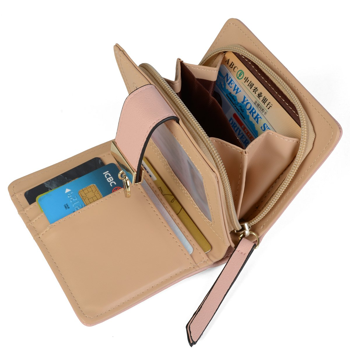 Women's Short Leather Wallet Leaf Bifold Card Coin Holder Small Purses Buckle Zipper Clutch,Pink-by Vodiu by vodiu (Image #4)