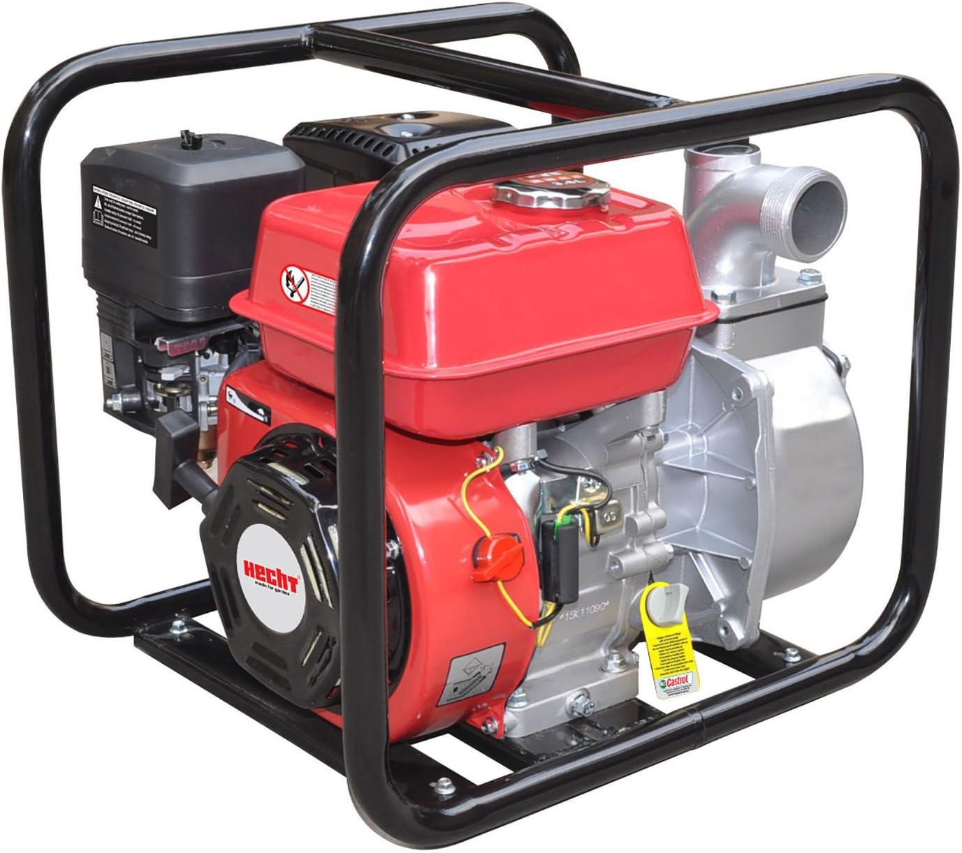 6,5 PS, 45.000 l//h, 3 Zoll Anschluss, F/örderh/öhe 25 m Hecht Benzin-Schmutzwasser-Pumpe 3680 Motorpumpe f/ür Teich Garten oder Haus